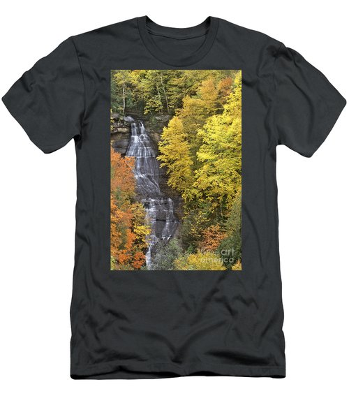 Fall Color Surrounds Chapel Falls On The Michigan Upper Peninsula Men's T-Shirt (Athletic Fit)