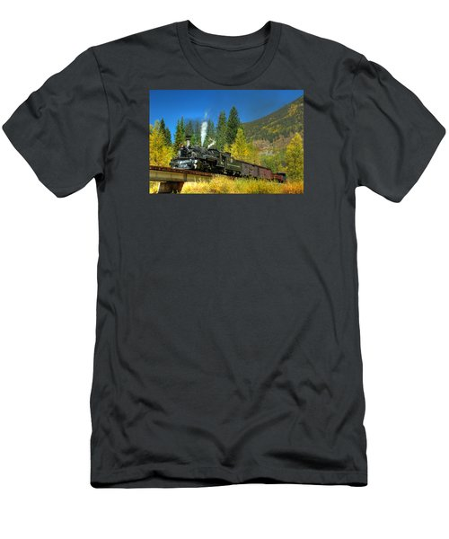 Fall Colored Bridge Men's T-Shirt (Slim Fit) by Ken Smith