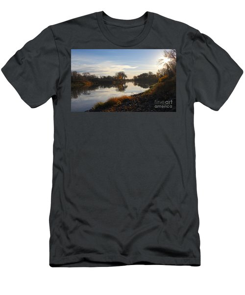 Fall Red River At Sunrise Men's T-Shirt (Athletic Fit)