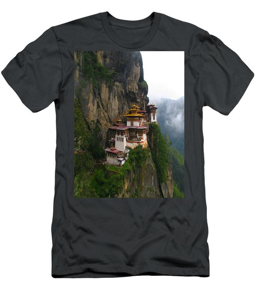 Famous Tigers Nest Monastery Of Bhutan Men's T-Shirt (Athletic Fit)