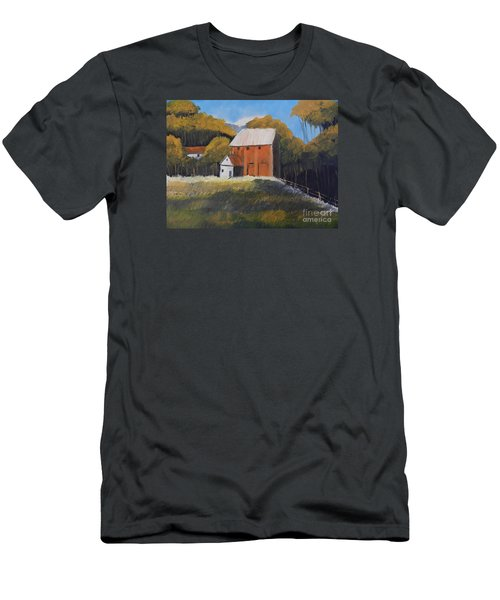 Men's T-Shirt (Slim Fit) featuring the painting Farm With Red Barn by Pamela  Meredith