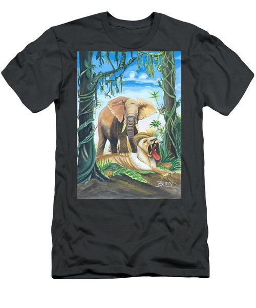 Men's T-Shirt (Slim Fit) featuring the painting Faune D'afrique Centrale 01 by Emmanuel Baliyanga
