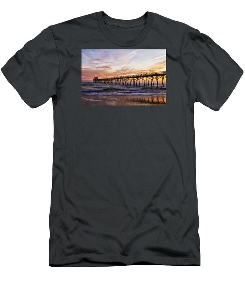 Men's T-Shirt (Slim Fit) featuring the photograph Febuary Sunset On Atlantic Beach by Bob Decker