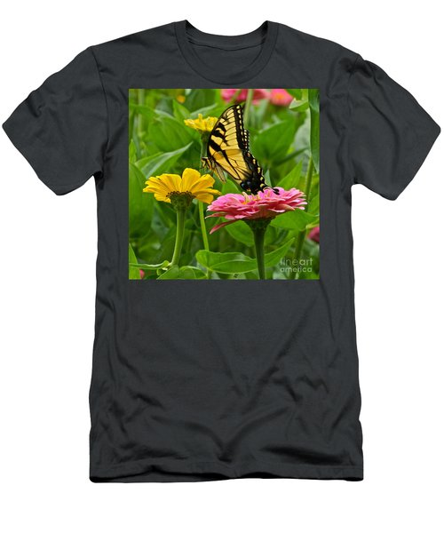 Female Tiger Swallowtail Butterfly With Pink And Yellow Zinnias Men's T-Shirt (Athletic Fit)