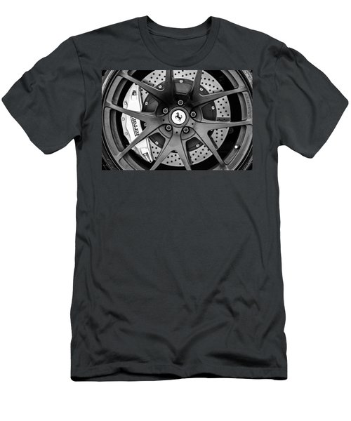 Ferrari Wheel Emblem - Brake Emblem -0430bw Men's T-Shirt (Athletic Fit)
