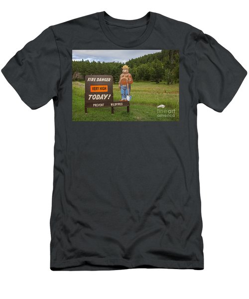 Men's T-Shirt (Athletic Fit) featuring the photograph Fire Danger Sign  by Bryan Mullennix