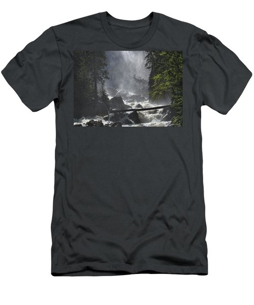 Men's T-Shirt (Slim Fit) featuring the photograph Fish Creek Mist by Don Schwartz