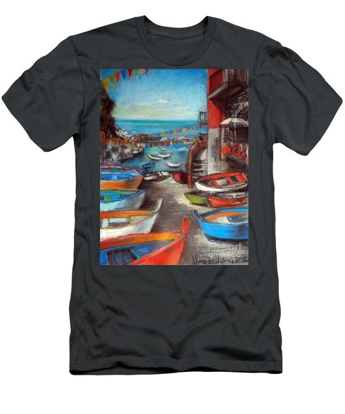 Fishing Boats In Riomaggiore Men's T-Shirt (Athletic Fit)