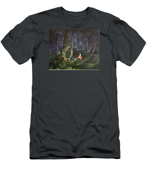 Men's T-Shirt (Slim Fit) featuring the painting Fishing For Supper On Cannock Chase by Jean Walker