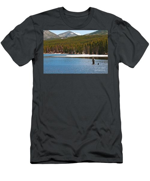 Men's T-Shirt (Athletic Fit) featuring the photograph Fishing In Winter by Mae Wertz