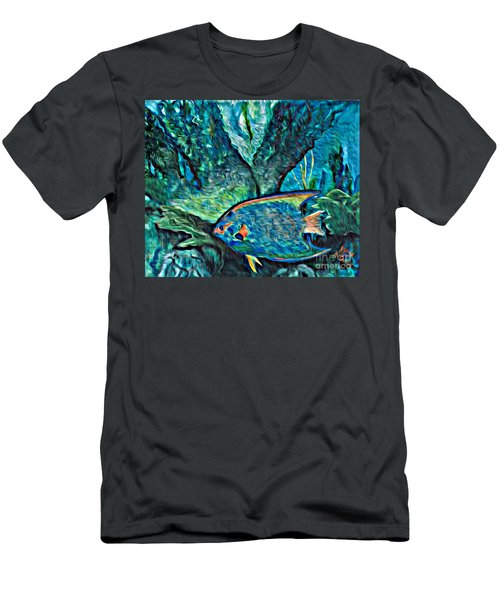 Men's T-Shirt (Slim Fit) featuring the painting Fishscape by Ecinja Art Works
