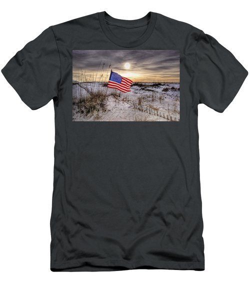 Flag On The Beach Men's T-Shirt (Athletic Fit)