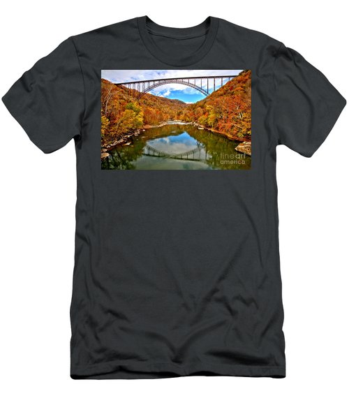 Flaming Fall Foliage At New River Gorge Men's T-Shirt (Athletic Fit)