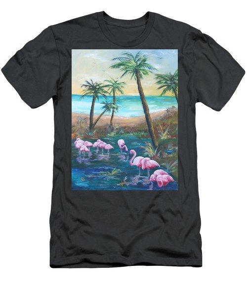 Flamingo Beach Men's T-Shirt (Athletic Fit)