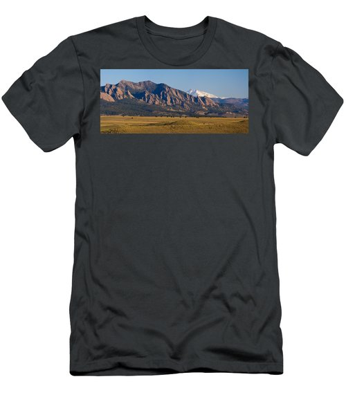 Flatirons And Snow Covered Longs Peak Panorama Men's T-Shirt (Athletic Fit)