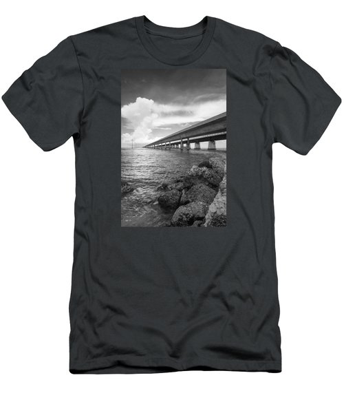 Florida Keys Seven Mile Bridge South Bw Vertical Men's T-Shirt (Slim Fit) by Photographic Arts And Design Studio