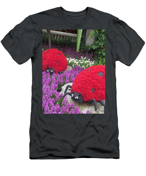 Men's T-Shirt (Slim Fit) featuring the photograph Flower Garden Ladybug Purple White I by Navin Joshi