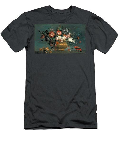 Flower Piece With Parrot Men's T-Shirt (Athletic Fit)