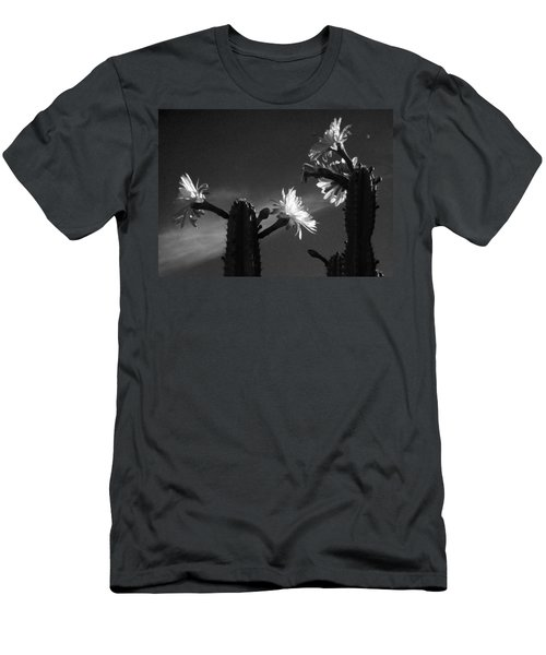 Men's T-Shirt (Slim Fit) featuring the photograph Flowering Cactus 4 Bw by Mariusz Kula