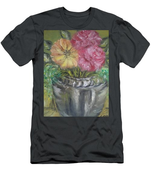 Men's T-Shirt (Slim Fit) featuring the painting Flowers by Teresa White