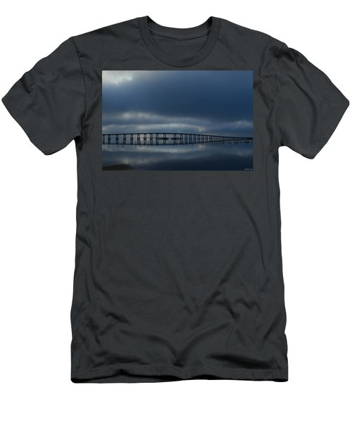 Men's T-Shirt (Slim Fit) featuring the photograph Foggy Mirrored Navarre Bridge At Sunrise by Jeff at JSJ Photography
