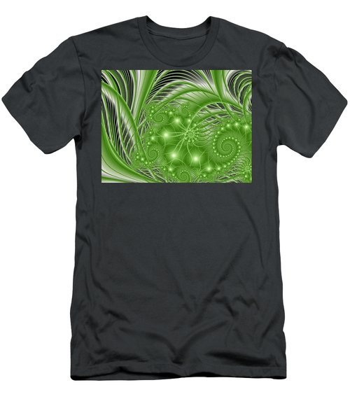 Fractal Abstract Green Nature Men's T-Shirt (Athletic Fit)