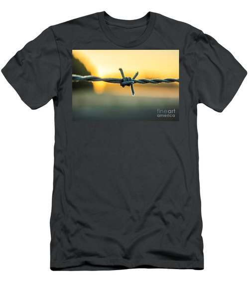 Frost On Barbed Wire At Sunrise Men's T-Shirt (Athletic Fit)