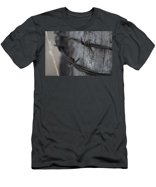 Men's T-Shirt (Athletic Fit) featuring the photograph Frost On The Wire by Ann E Robson
