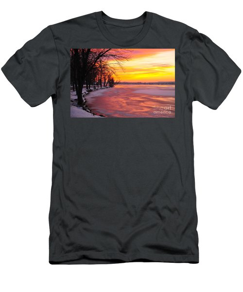 Men's T-Shirt (Slim Fit) featuring the photograph Frozen Dawn At Lake Cadillac  by Terri Gostola