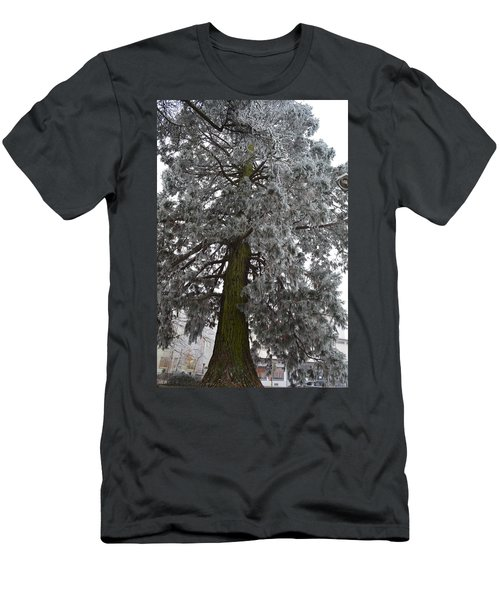Men's T-Shirt (Slim Fit) featuring the photograph Frozen Tree 2 by Felicia Tica