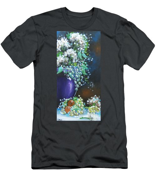 Men's T-Shirt (Slim Fit) featuring the painting Fruit And Flowers Still Life by Patrice Torrillo