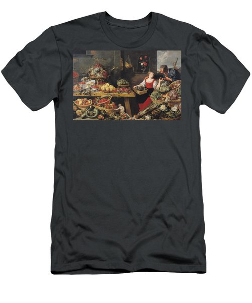 Fruit And Vegetable Market Oil On Canvas Men's T-Shirt (Slim Fit) by Frans Snyders