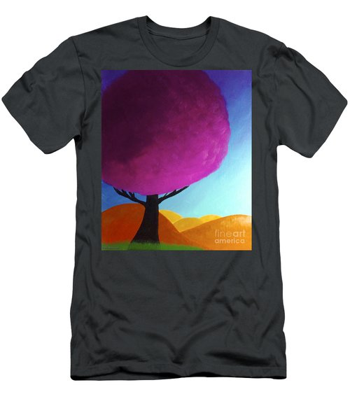 Men's T-Shirt (Slim Fit) featuring the painting Fuchsia Tree by Anita Lewis