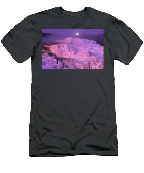 Full Moon Sets Over Minerva Springs On A Winter Morning Yellowstone National Park Men's T-Shirt (Athletic Fit)