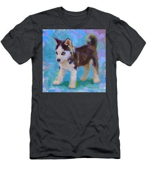 Alaskan Husky Sled Dog Puppy Men's T-Shirt (Athletic Fit)