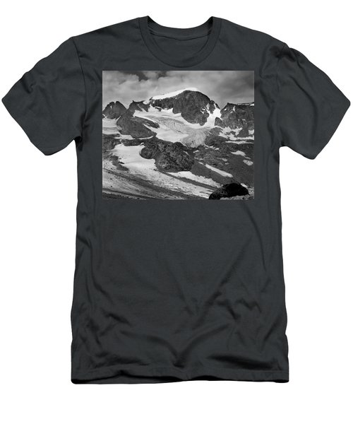 509427-bw-gannett Peak And Gooseneck Glacier, Wind Rivers Men's T-Shirt (Athletic Fit)