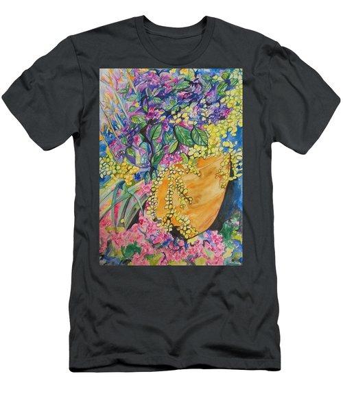 Garden Flowers In A Pot Men's T-Shirt (Slim Fit) by Esther Newman-Cohen