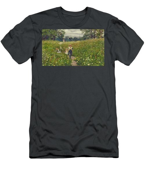Gathering Wild Flowers  Men's T-Shirt (Athletic Fit)