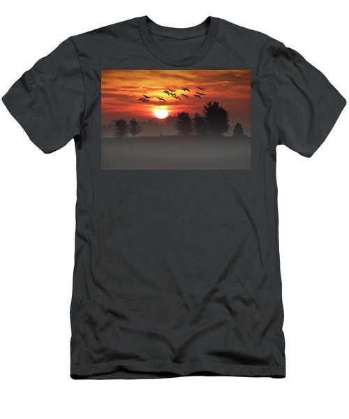 Geese On A Foggy Morning Sunrise Men's T-Shirt (Athletic Fit)