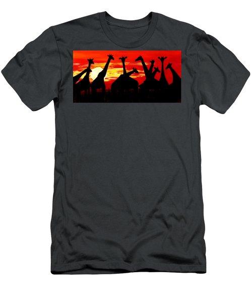 Giraffes Sunset Africa Serengeti Men's T-Shirt (Athletic Fit)