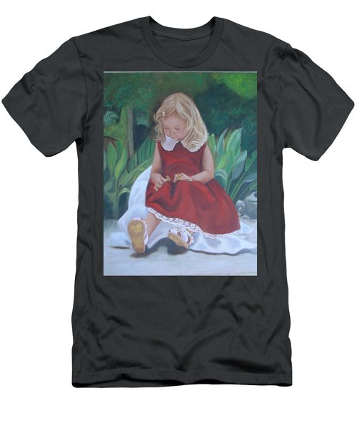 Girl In The Garden Men's T-Shirt (Slim Fit) by Sharon Schultz