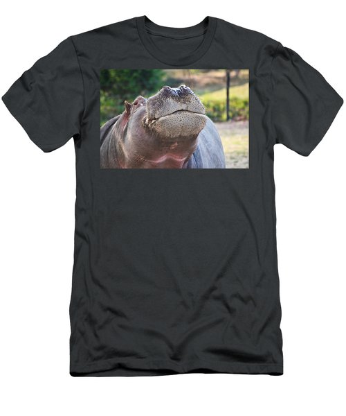Men's T-Shirt (Slim Fit) featuring the photograph Give Me A Kiss Hippo by Eti Reid
