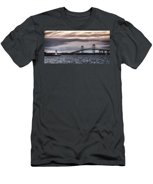 Goat Island Lighthouse And Newport Bridge Men's T-Shirt (Slim Fit) by Joan Carroll