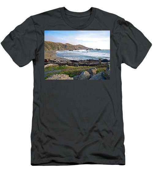 Goat Rock State Beach On The Pacific Ocean Near Outlet Of Russian River-ca  Men's T-Shirt (Slim Fit) by Ruth Hager