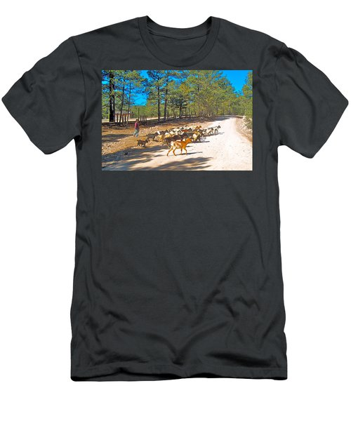 Goats Cross The Road With Tarahumara Boy As Goatherd-chihuahua Men's T-Shirt (Athletic Fit)