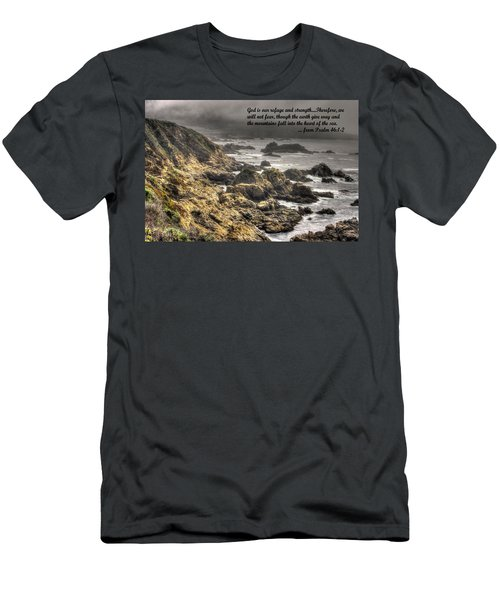 God - Our Refuge And Strength Though The Mountains Fall Into The Sea - From Psalm 46.1-2 - Big Sur Men's T-Shirt (Slim Fit) by Michael Mazaika