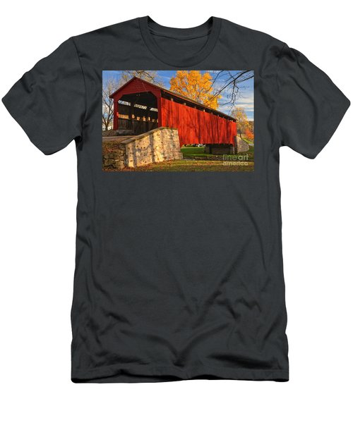 Gold Above The Poole Forge Covered Bridge Men's T-Shirt (Athletic Fit)