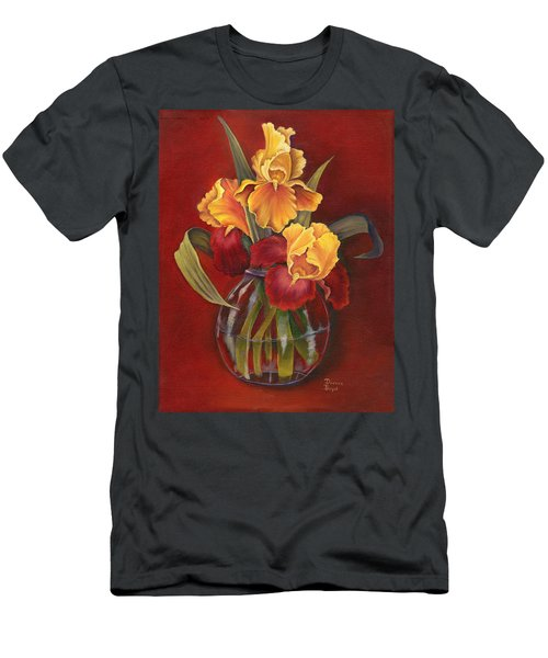 Gold N Red Iris Men's T-Shirt (Athletic Fit)