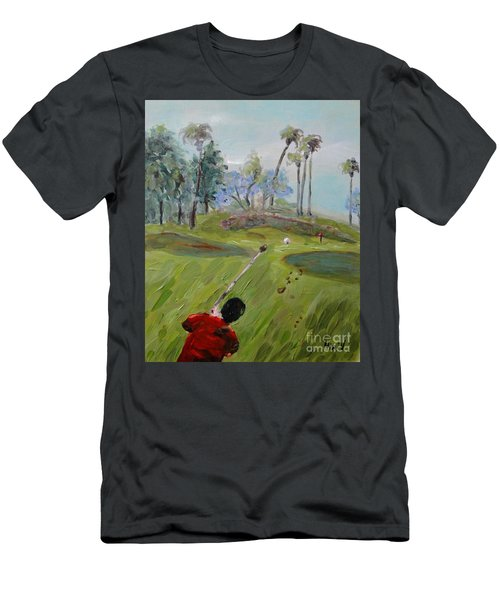 Men's T-Shirt (Athletic Fit) featuring the painting Golfing At Monarch by Maria Langgle
