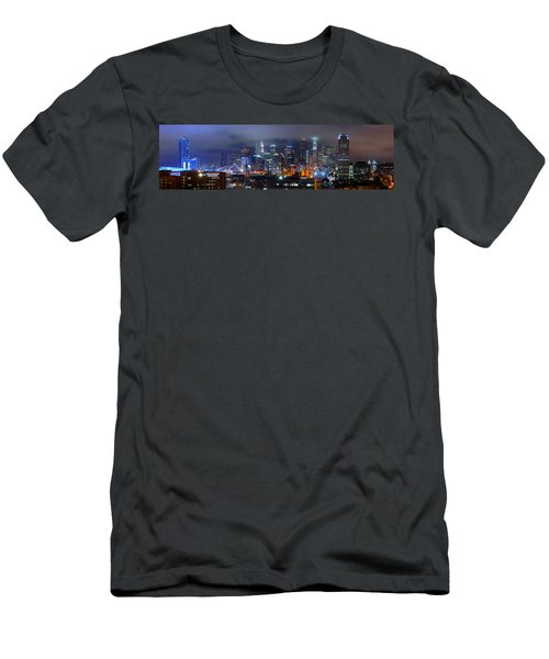 Gotham City - Los Angeles Skyline Downtown At Night Men's T-Shirt (Athletic Fit)